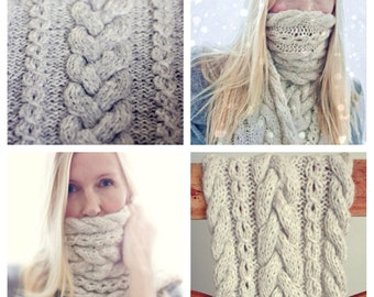Knitting Pattern - Braided Infinity Scarf - Cowl - Cable Knit - Diagram - Instant Digital Download
