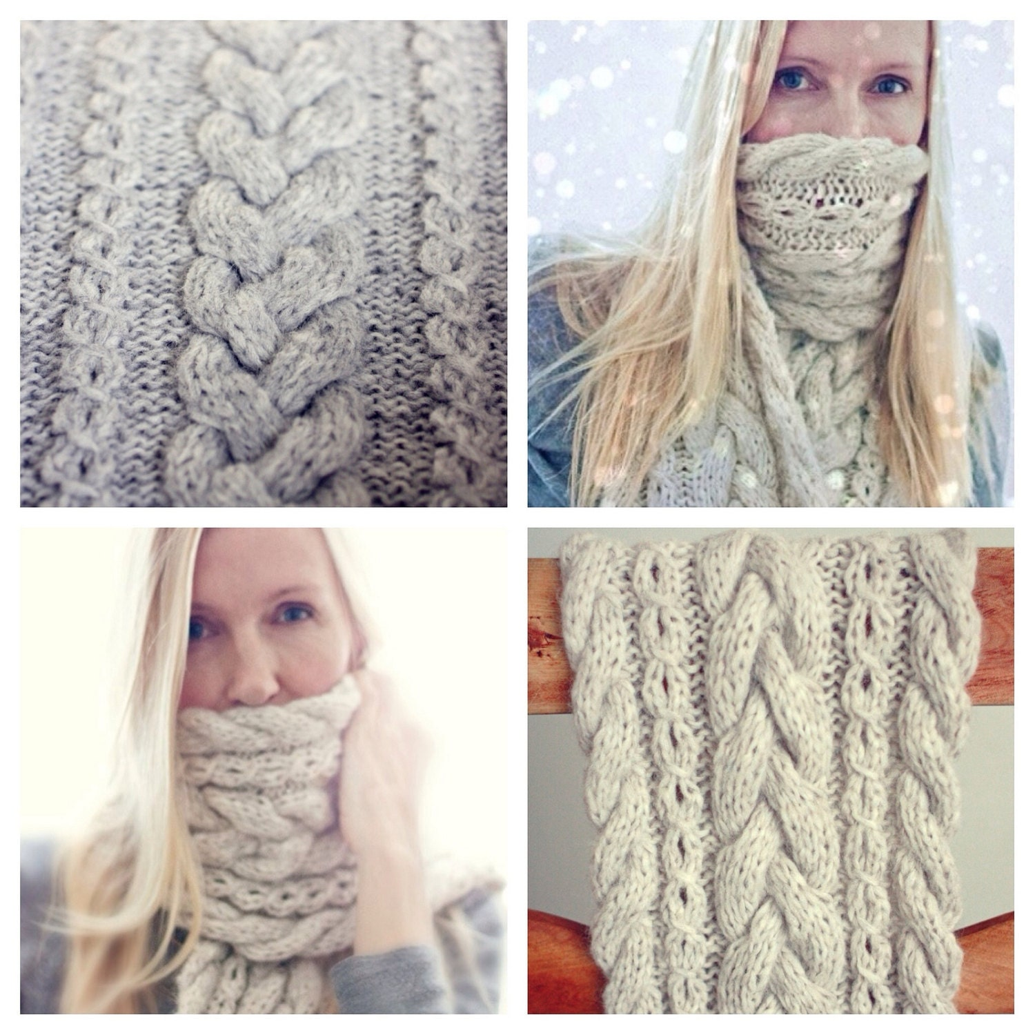 Knitting Pattern - Braided Infinity Scarf - Cowl - Cable Knit ...