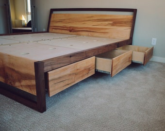 Walnut and Figured Maple Storage Bed // Platform Bed // Slanted Headboard // Eco Finishes // Carb II Compliant Material