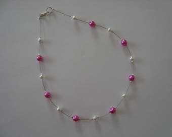 Simple necklace fancy hot pink & white