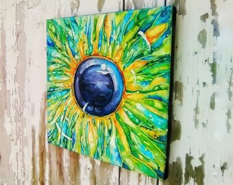 Semi Abstract Eye Original Watercolor Painting on Canvas