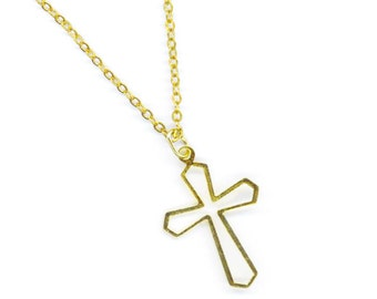 Vintage Cross .Religious jewelry . Dainty Delicate . Gold Filled Cross. Gold Filled Chain . Easter -  Holly Cross by enchantedbeads on Etsy