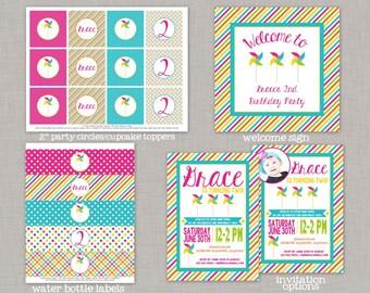 Pinwheel Birthday Party, Pinwheel Birthday Decorations, Pinwheel Party, Printable