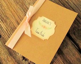 Mini Journal - Team Bride - Personalized - Blush Floral - Bridesmaid Gift - Notebook - Planner - Unique