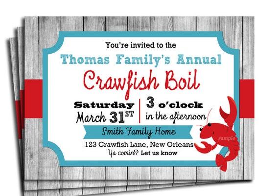 Crawfish Boil Invitation Printable or Printed with FREE