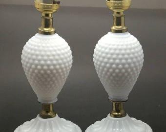 Set of Two Vintage White Hobnail Glass Boudoir Lamps