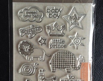 Clear Stamps, 16 Pieces Total, Baby Boy Theme, Scrapbooking, Card Making, Hero Arts