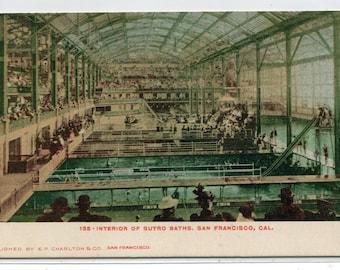 Sutro Baths Swimming Pool Interior San Francisco California 1905c postcard