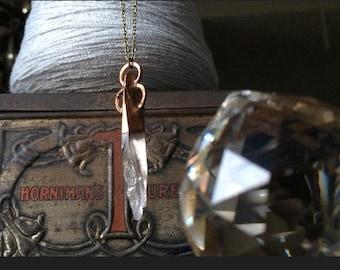 Quartz Electroformed Necklace, Quartz crystal Necklace, Crystal Necklace, Copper Necklace, key necklace, Electoroformed necklace