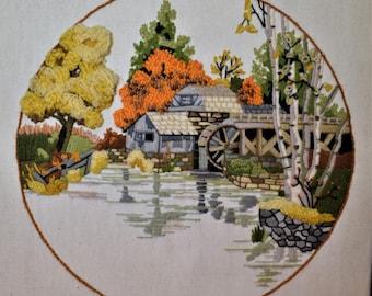 Framed Crewel Old Mill Vintage