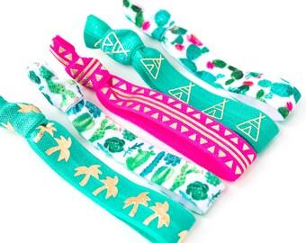 Watercolor Cactus Hair Tie Set | Turquoise, Hot Pink + Gold Creaseless Elastic Hair Ties, Boho Hair Tie Set, Cactus Palm Tree Desert Fiesta
