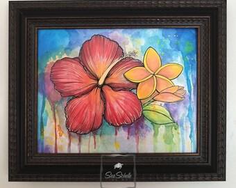 Hibiscus and Plumeria Fine Art Print (unframed)