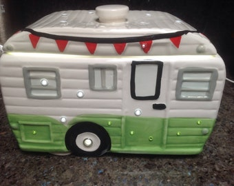 "Upcycled Retro Camper Airstream LED Night Light Music Box ""Don't Fence Me In"""