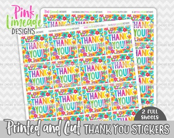 "Rainbow Flowers ""Thank You"" Stickers - 2 sheets 1 or 1.5 inch stickers - printed stickers for your business or event - GLOSSY - ty007"