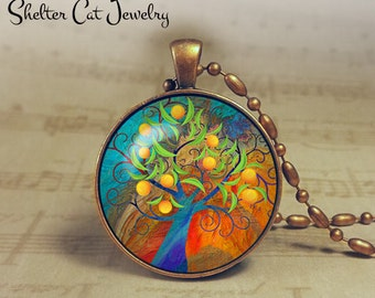 "Curly Tree of Life w/ Fruit Necklace - 1-1/4"" Round Pendant or Key Ring - Handmade Wearable Photo Art Jewelry - Nature - Gift for Her"