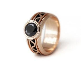 14k rose gold Black stone engagement ring, Promise ring, Black engagement ring, Gothic engagement, Love ring, Rose gold jewellery,Birthstone