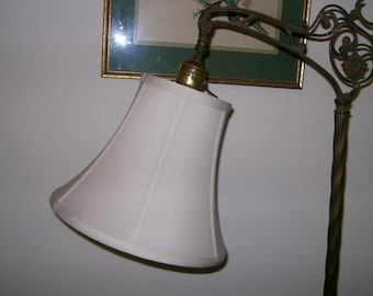 Quality Cream/Eggshell Silk Shade 4 SMALL Bridge Lamp - NEW!!