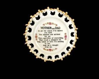 Mid Century Mom and Dad Gratitude Plate   GC2716