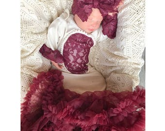 Baby girl gown, cranberry baby outfit, pettiskirt gown, pageant baby gown, going home outfit, baby shower gift, boutique baby