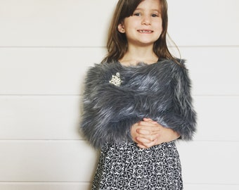 Child's shag faux fur wrap shawl stole gray
