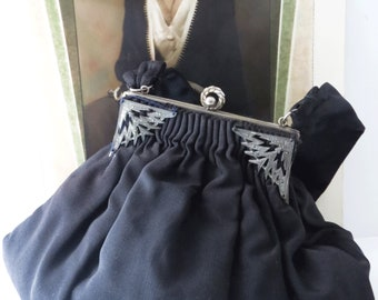 Guild Creations Rayon Faille Handbag / Purse, Black, Art Deco Evening Bag