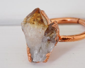 Statement raw citrine ring- copper crystal ring - boho ring -  November birthstone ring - size Q ring - size 8.5 ring
