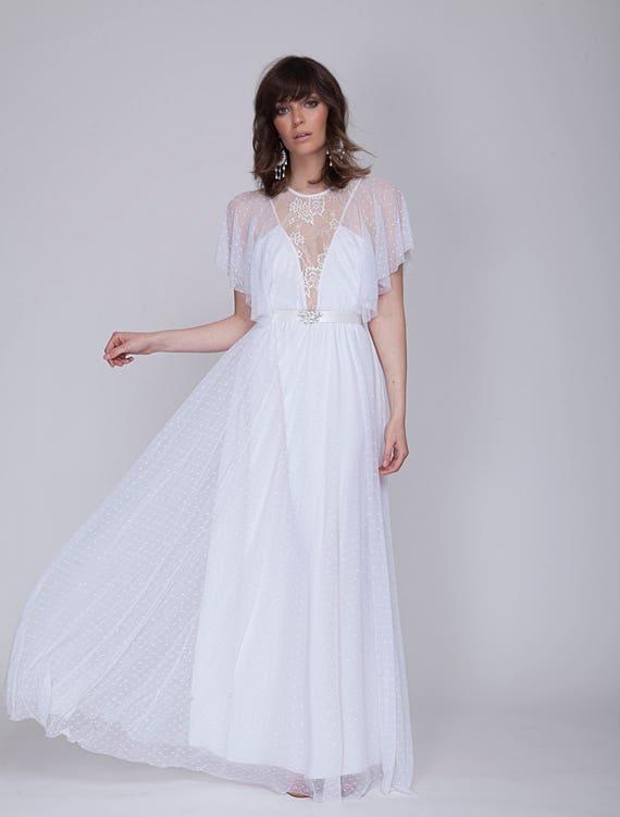 Boho Llace Brautkleid böhmische Hochzeit Kleid gepunkteten