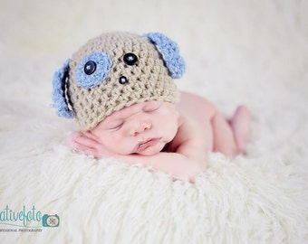 Puppy dog with ears crochet beanie hat. Choose size and colour. Newborn. Great photo photography prop. UK seller