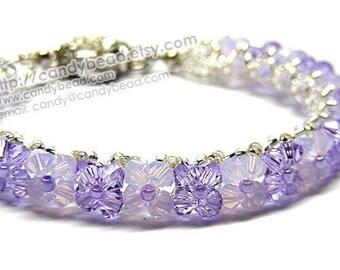 Swarovski Bracelet; Crystal Bracelet; Glass Bracelet; Violet and Opal Swarovski Crystal Bracelet by CandyBead