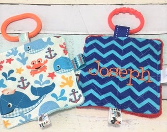 Baby boy shower gifts, Baby crinkle toys, baby teething toys, baby nautical toys, baby personalized toys