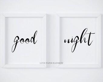 goodnight, good night, master bedroom, nursery print, kids bedroom print, bedroom decor, monochrome bedroom decor, bedroom wall art