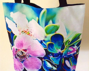 tote bag, small book bag, farmers market bag, reusable shopping bag, small, tea tree blossom tote bag