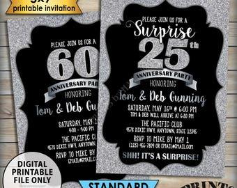 "Silver Anniversary Party Invitation, Standard or Surprise Black & Silver Glitter PRINTABLE 5x7"" Invite, 30th 40th 50th 60th 70th Anniversary"