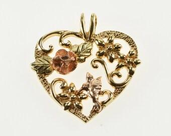 10K Ornate Floral Pattern Ornate Heart Two Tone Charm/Pendant Yellow Gold