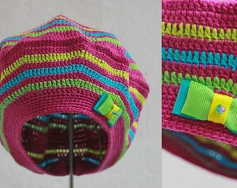Colorful Crochet Beret for Little Lady with decor on side