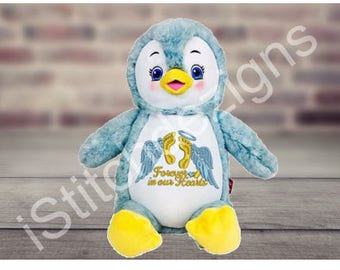 Penguin ,Personalized stuffed animal, Birth announcement, Stuffed animal, Embroidered animal, Birth announcement Penguin ,Baby shower gift.