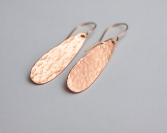 Forged Copper TearDrop Earrings - Forged Teardrops