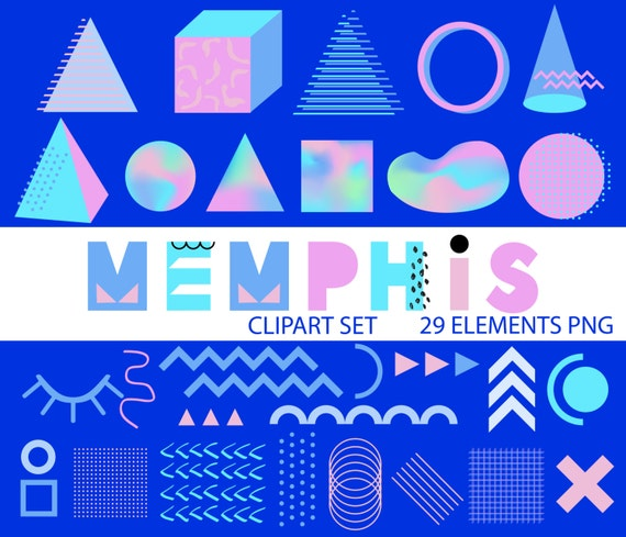 memphis style overlay trendy design elements set  pop