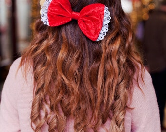 Scarlet Red Velvet Hair Bow