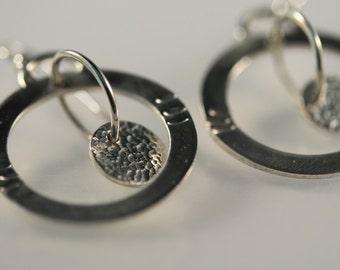 Sterling Silver hoop and disk earrings