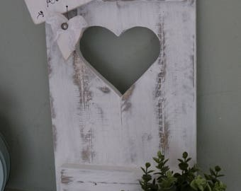 Decorative window shutters heart SHABBY CHIC cottage Nordic old white patinated garden