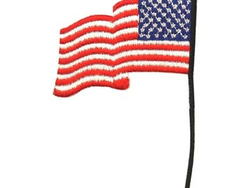 ID 1044 America Flag Pole Patch Patriotic Flapping Embroidered Iron On Applique