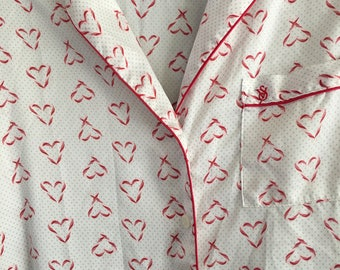 S / Victoria's Secret Red Heart Pajamas Top and Bottoms / Small