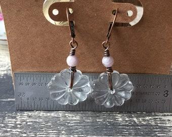 gazing through - kunzite and vintage glass rosette copper earrings dangle drop summer
