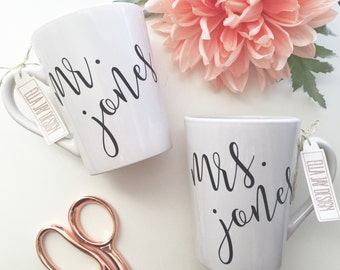 His and Hers Coffee Mug, Wedding Gift, Engagement Gift, Bridal Shower Gift, Bride, Wedding, Coffee mug, His and Hers, Engaged, Wifey,