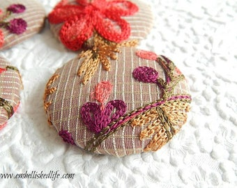 4 striped red pink white embroidered floral fabric buttons,  use for sewing, scrapbooking, 1 7/8 inches, 4.7 cm, 48.26 mm, size 75 buttons