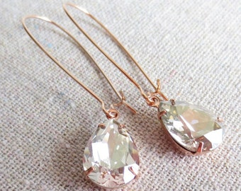 Swarovski Silver Shimmer Pear Crystal Long Dangling Teardrop Tear Drop Rose Gold, Gold, Silver Bridal Earrings Wedding Bridesmaids Gifts