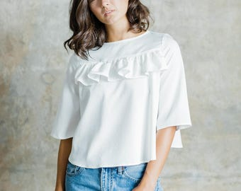 Elsie Ruffle Blouse with Keyhole Back, comfortable fit and flattering cut