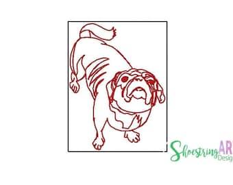 pug embroidery design - sassy pug - redwork machine embroidery  -  dog embroidery pattern - digital download -  5x7 - 4x4 - pet - pes