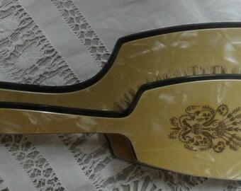 Bakelite vanity mirror and brush gold made in the USA